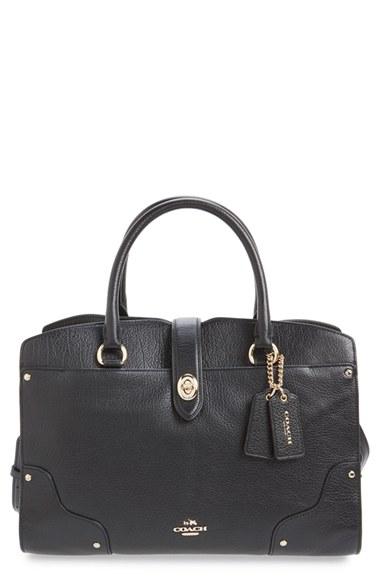 Coach 'mercer 30' Leather Satchel In Black/ Silver