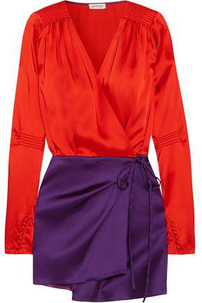 8be3e1aa9e69 Attico Woman Smocked Two-Tone Satin Mini Wrap Dress Red In Yellow ...
