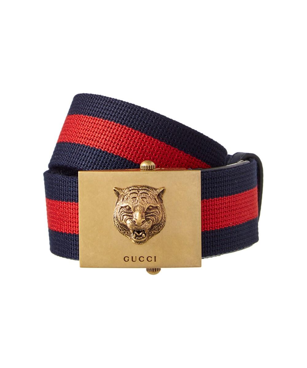 788cc17b2 Gucci Canvas Web Belt With Feline Head' In 8497 | ModeSens