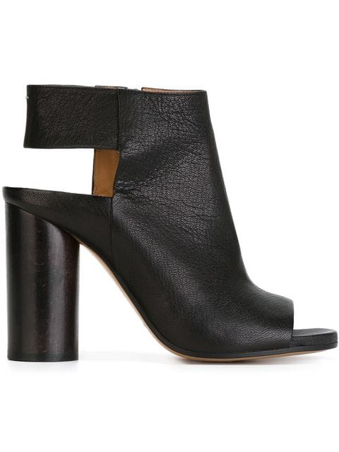 Maison Margiela Leather Open-toe Cone-heel Bootie, Black
