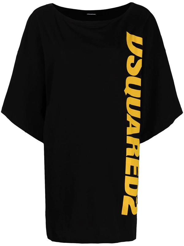 Dsquared2 Logo Print T-shirt Dress In Black