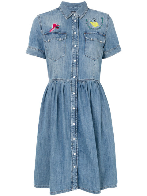 Diesel Denim Dress With Flare Skirt And Embroidery - Blue