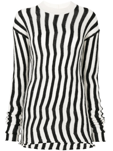 Helmut Lang Woman Striped Open-knit Sweater Ivory In Black