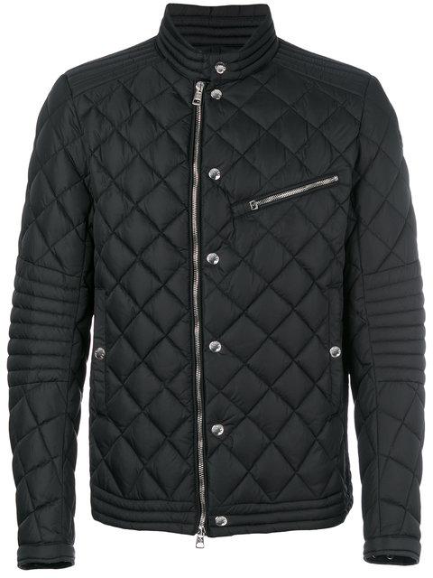 Moncler Black Fred Quilted Nylon Cafe Racer Jacket for men