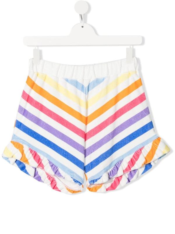 Douuod Teen Stripe-print Ruffled Shorts In White