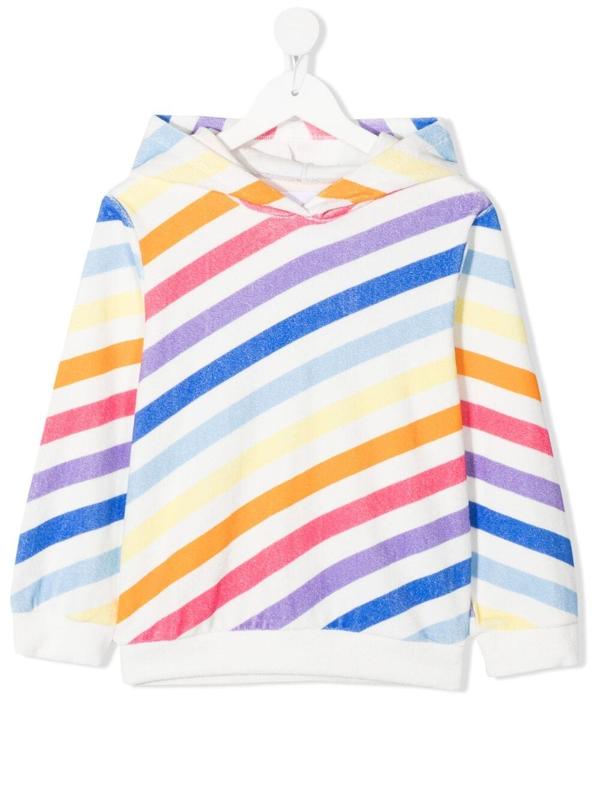 Douuod Kids' Stripe-print Cotton Hoodie In White