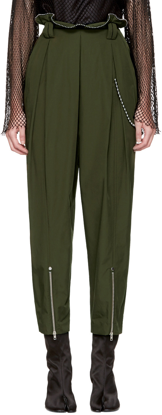 offer more photos hot-selling official Green High-Waisted Ballchain Army Trousers