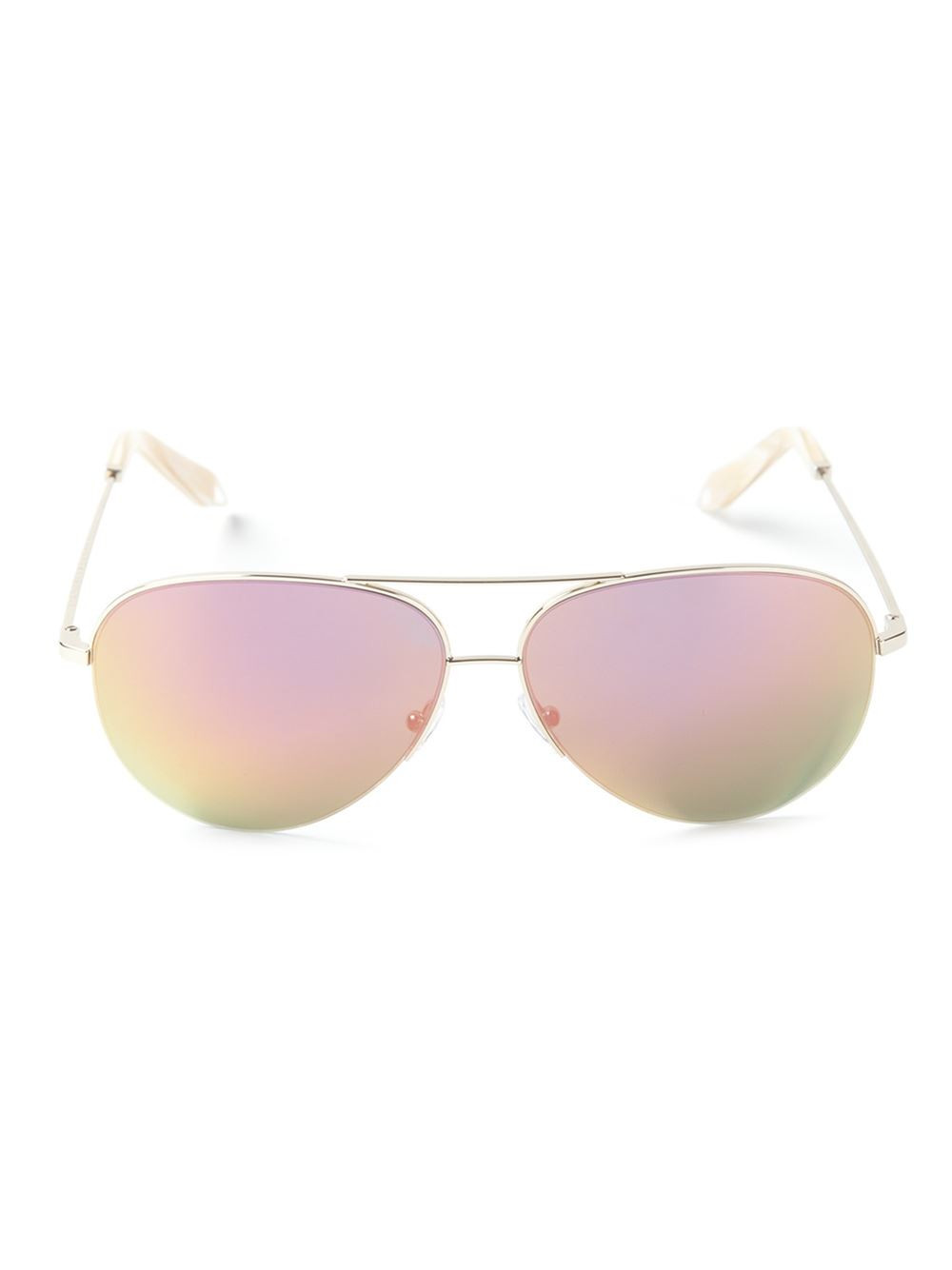 c2afecd0ad49 Victoria Beckham Aviator-Style Gold-Tone Mirrored Sunglasses In Pink ...