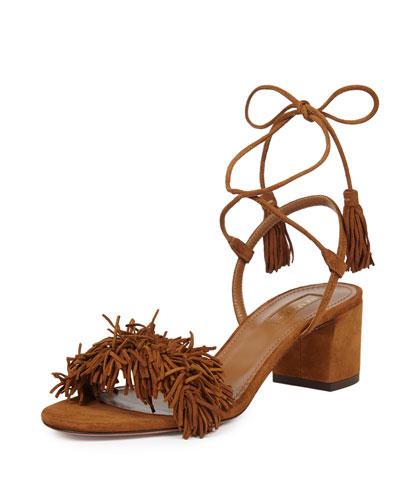 765e9d3b3ac Aquazzura Wild Thing Suede Fringed Block-Heel Sandals In Tan-Brown ...