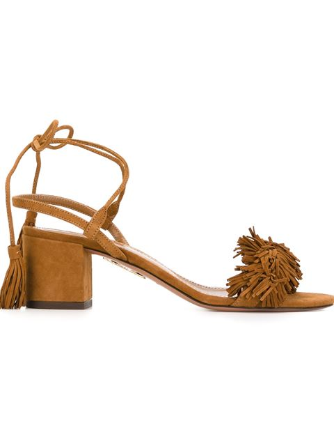 Aquazzura Wild Thing Suede Fringed Block-heel Sandals In Cognac