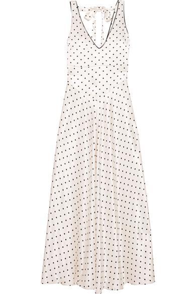 cd6096266c Ganni Leclair Open-Back Polka-Dot Satin Maxi Dress In Ivory   ModeSens