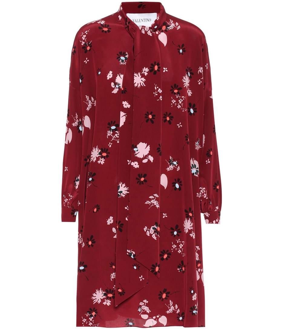 Valentino Burgundy Floral-Print Silk Dress In Red