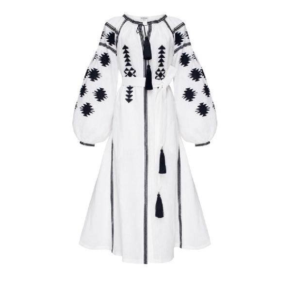 Foberini Midi Dress White White Geometry