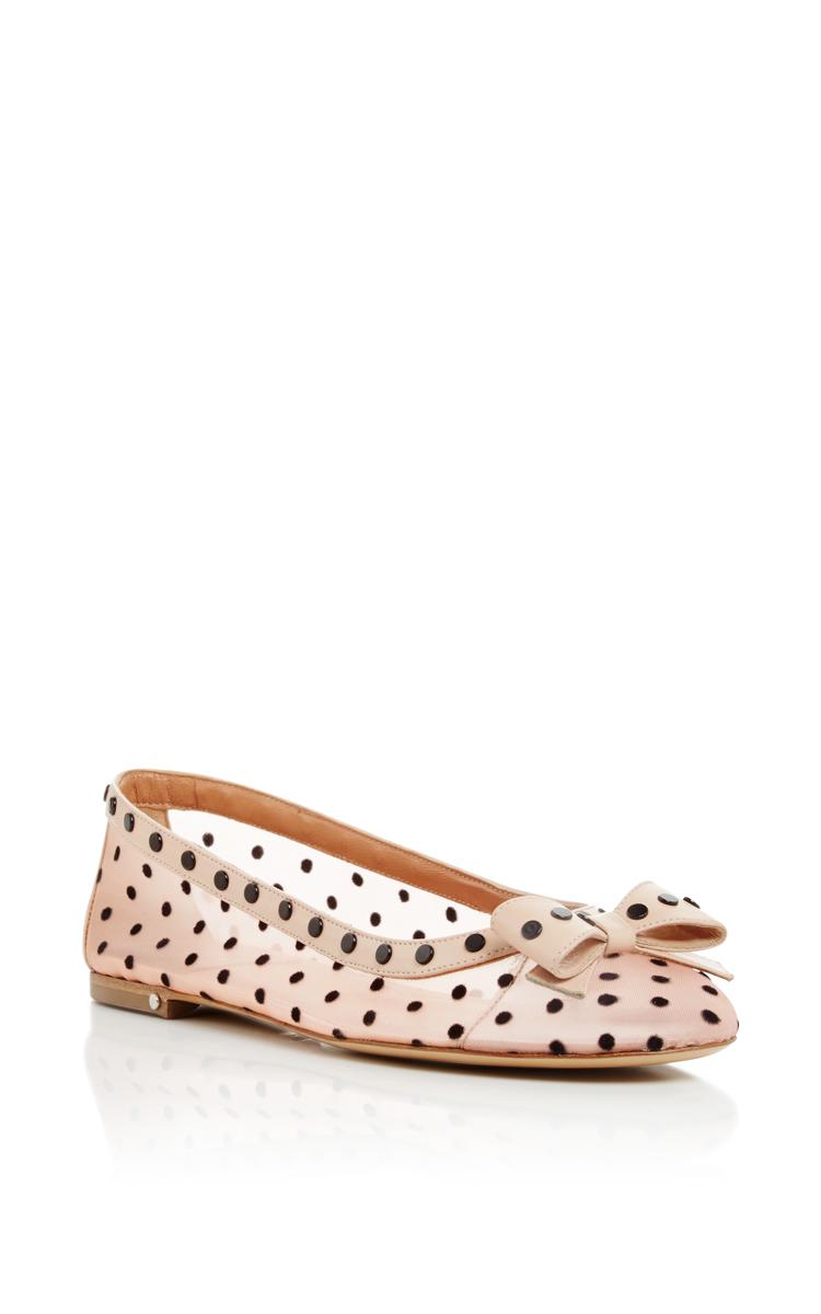 Laurence Dacade Woman Klemence Leather-trimmed Embellished Flocked Tulle Ballet Flats Pastel Pink