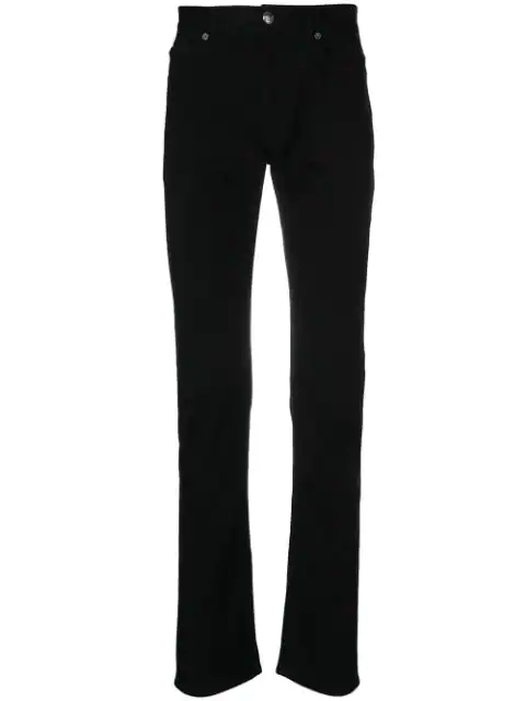 Versace Pantalone Slim-Fit Cotton Jeans In Black