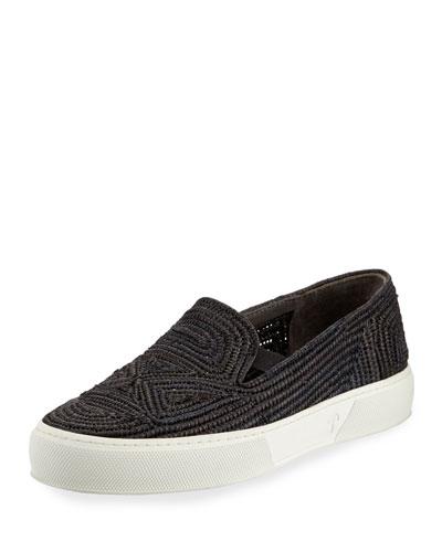 5825c55126c Robert Clergerie Black Raffia Tribal Slip-On Sneakers