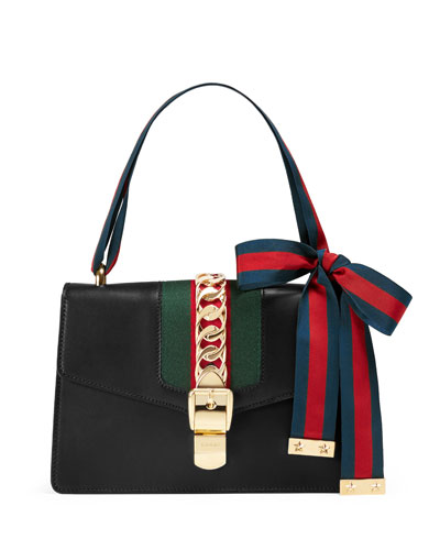 Gucci Sylvie Small Chain-embellished Leather Shoulder Bag