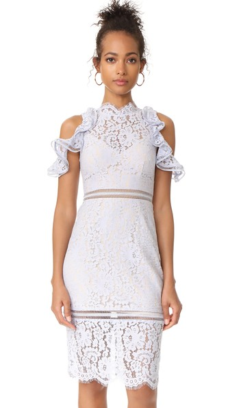 Keepsake Oblivion Lace Cold-Shoulder Dress In Pale Blue