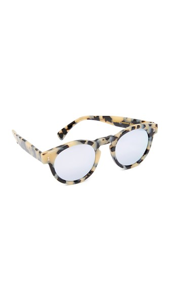 Illesteva Leonard Mirrored Sunglasses In Cream Tortoise/Silver
