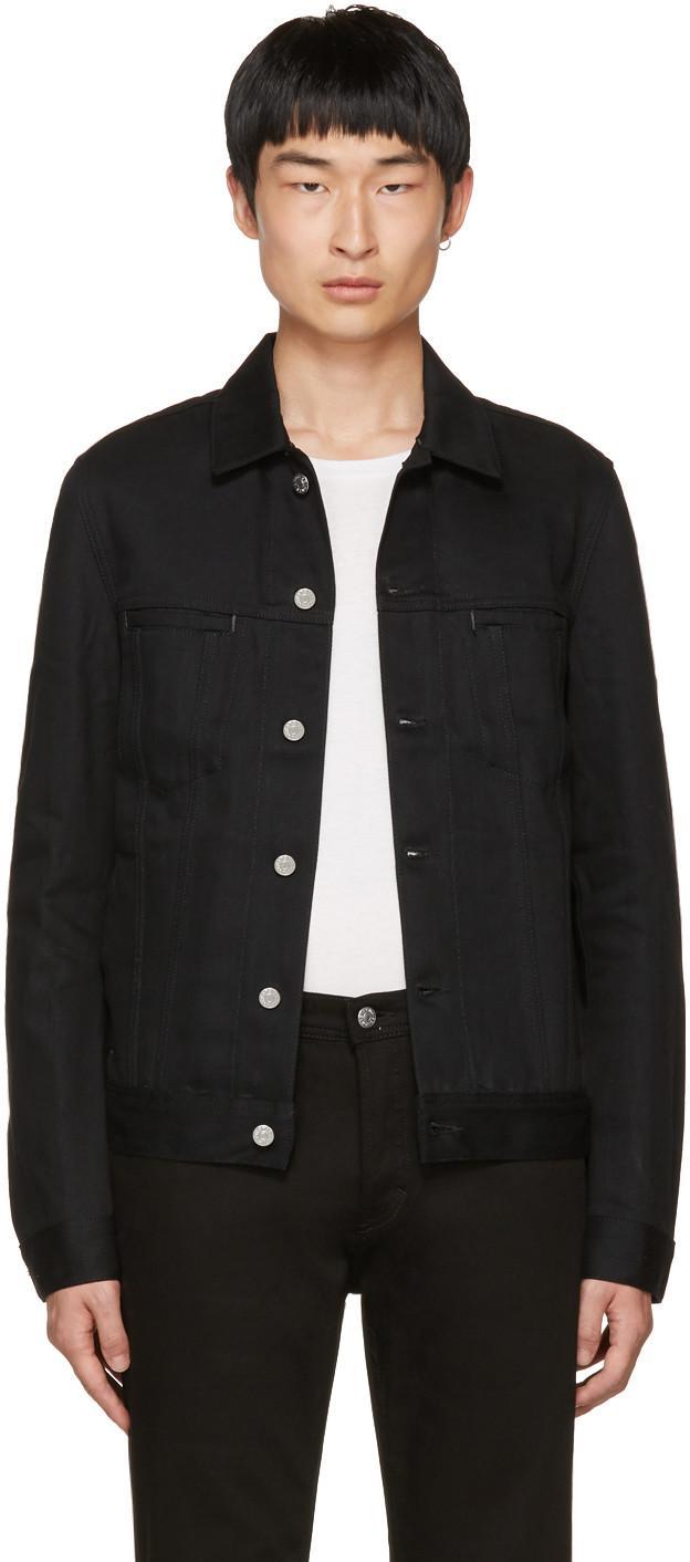 Acne Black Denim Jacket acne studios 'pass' cotton denim jacket in black | modesens