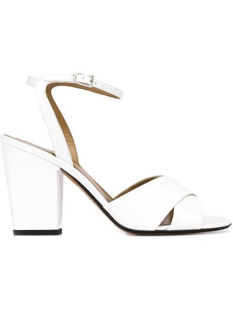 Sonia Rykiel Patent Leather Block Heel Sandals In White