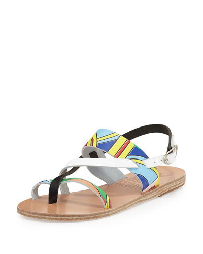 Ancient Greek Sandals Woman + Peter Pilotto Alethea Printed Leather Sandals White In Print Colourful