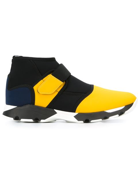 Marni Men's Ankle Strapped Sneakers In Black And Yellow In Multicolored