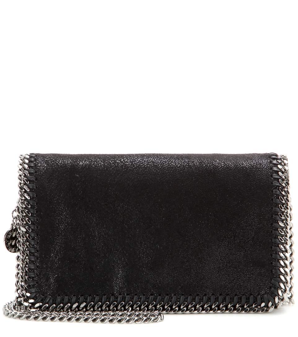 Stella Mccartney Falabella Shaggy Deer Shoulder Bag In Black