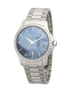 Gucci Silvertone Mother-Of-Pearl Dial Watch
