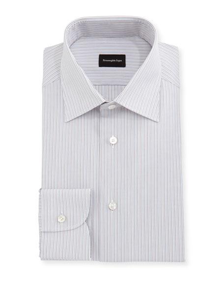 Ermenegildo Zegna Fine-Striped Cotton Dress Shirt In Light Brown