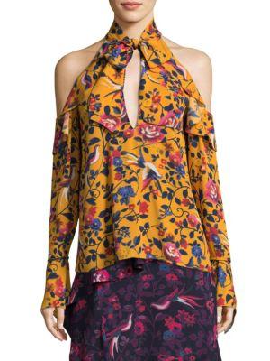 Tanya Taylor Adrienne Kimono Floral Silk Top In Yellow