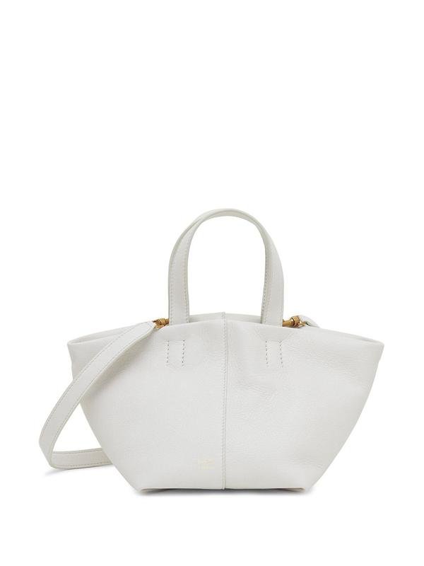 Mansur Gavriel Mini Tulipano Leather Shoulder Bag In White