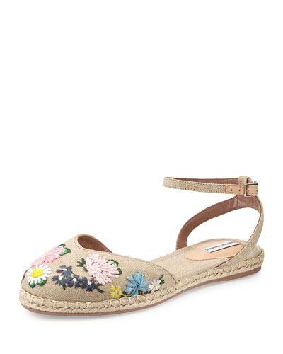 Tabitha Simmons Dotty Meadow Embroidered Espadrille Flat, Linen/multi