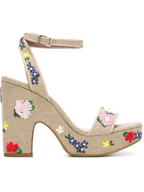 Tabitha Simmons Calla Embroidered Platform Sandal, Natural In Eatural Lieee