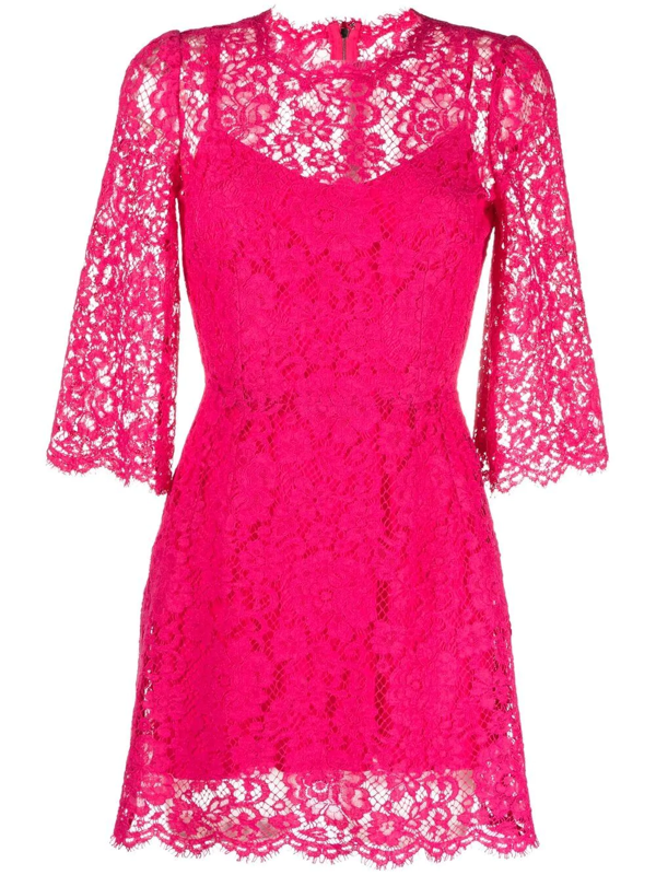 Dolce & Gabbana Embroidered Lace Cocktail Dress In Pink