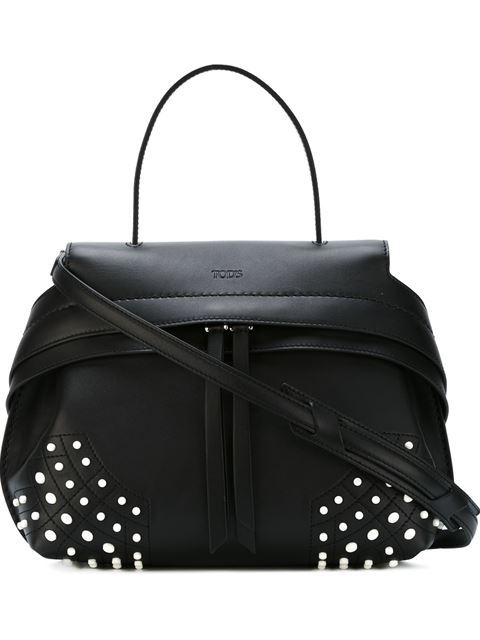Tod's Wave Small Bag - Leather Black And White Rubbers
