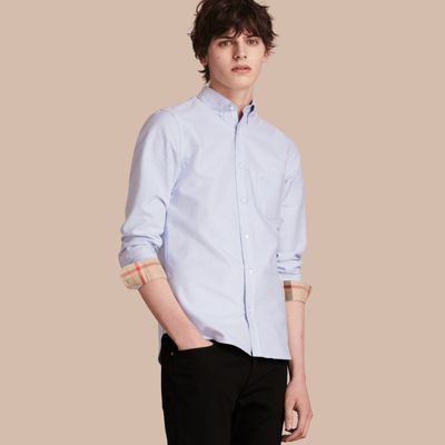 299e2566d516 Burberry Check Detail Cotton Oxford Shirt In Cornflower Blue | ModeSens
