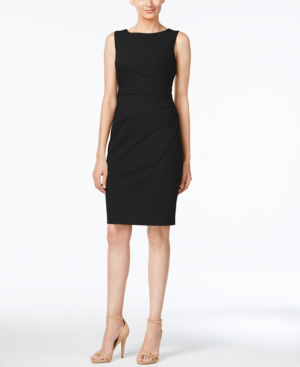 Calvin Klein Petite Starburst Sheath Dress In Black