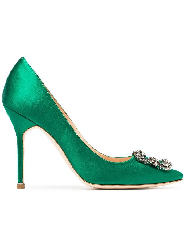 Manolo Blahnik 105Mm Hangisi Swarovski Silk Satin Pumps In Green Emerald