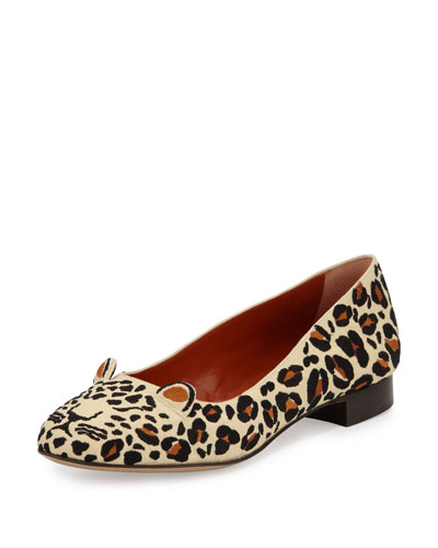 Charlotte Olympia Feral Leopard-embroidered Flat, Sunshine Yellow/multi