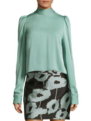 Milly Stretch Silk Kitty Blouse In Ice