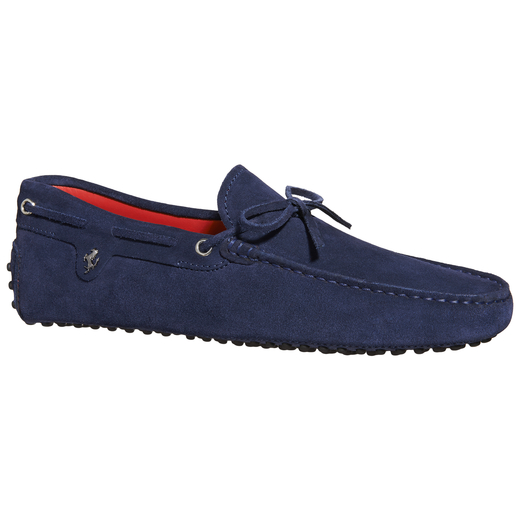 Tod's For Ferrari Gommino Driving Shoes In Suede In Electric Blue