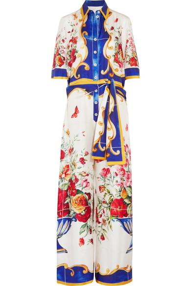 Dolce & Gabbana Printed Silk-Crepe Jumpsuit In Multi