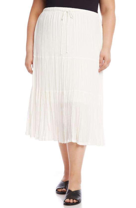 Karen Kane Tiered Crinkle Midi Skirt In Off White