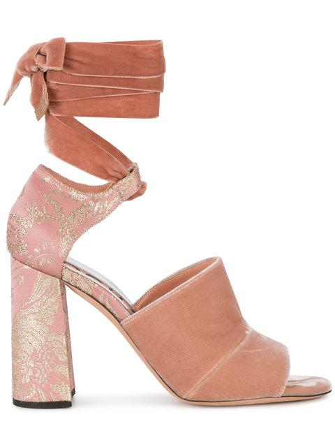 Rochas Pink Velvet Ankle Tie 100 Sandals In Pink & Purple