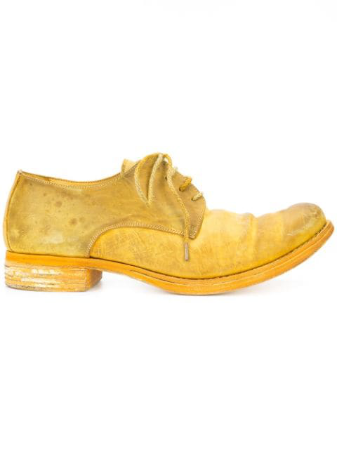 A Diciannoveventitre Distressed Derby Shoes In Yellow