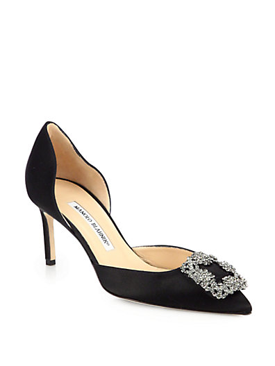 Manolo Blahnik Hangisido 70 Satin D'Orsay Pumps In Black