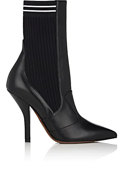 Fendi Rockoko Leather And Ribbed Stretch-Knit Sock Boots In Black