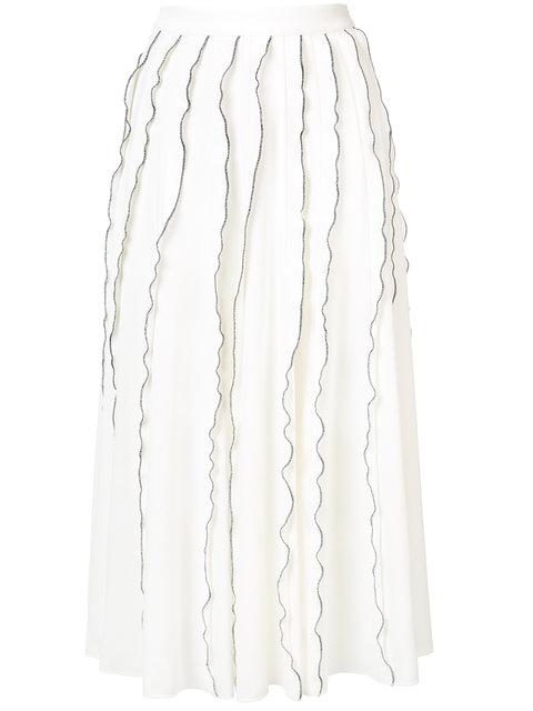 Derek Lam Ruffle Crepe Midi-Skirt In White