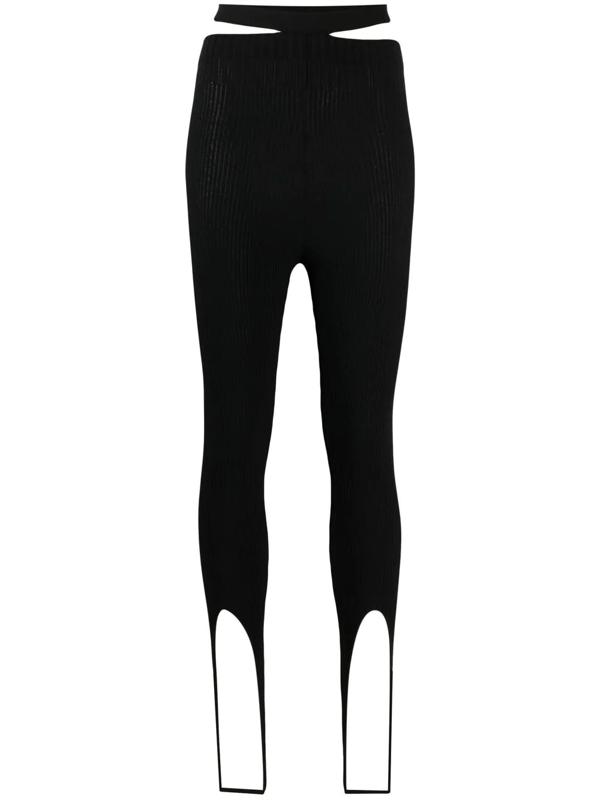 Adamo Viscose Blend Rib Knit Stirrup Leggings In Black